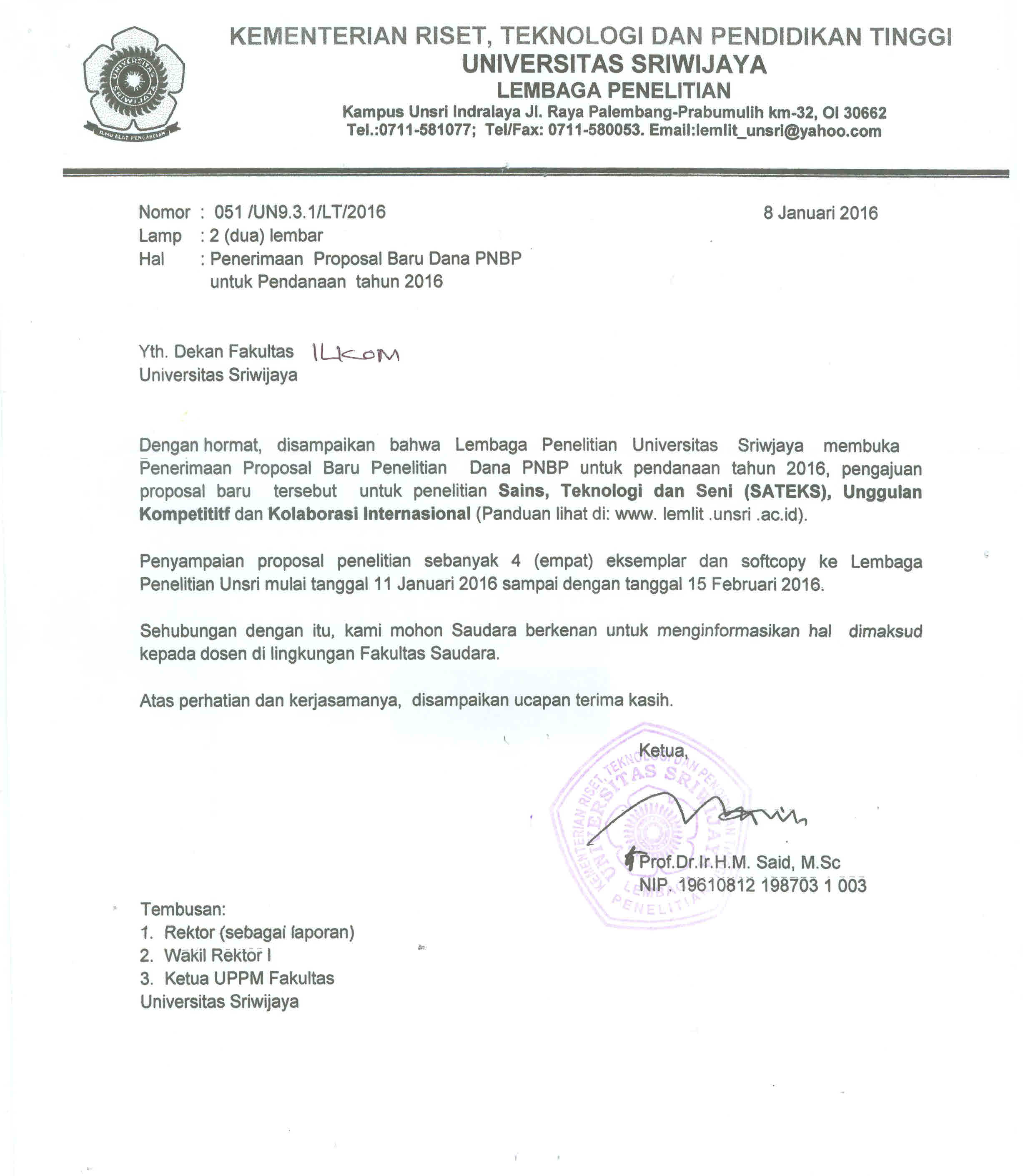 Penerimaan Proposal Baru Dana PNBP untuk Pendanaan tahun 2016